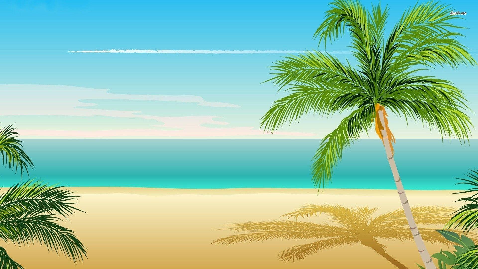 1920x1080, Palm Tree Top Hd Desktop Wallpaper - Cartoon Palm Tree Background - HD Wallpaper