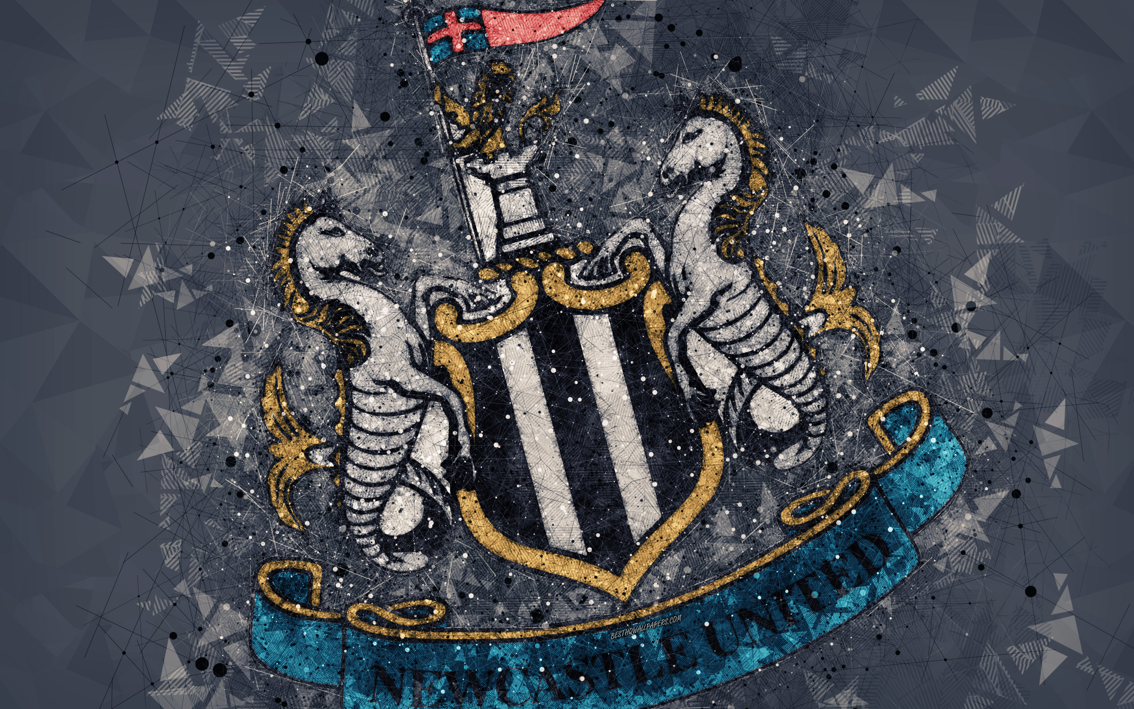 Newcastle United Fc 4k Logo Geometric Art English Newcastle United 3840x2400 Wallpaper Teahub Io
