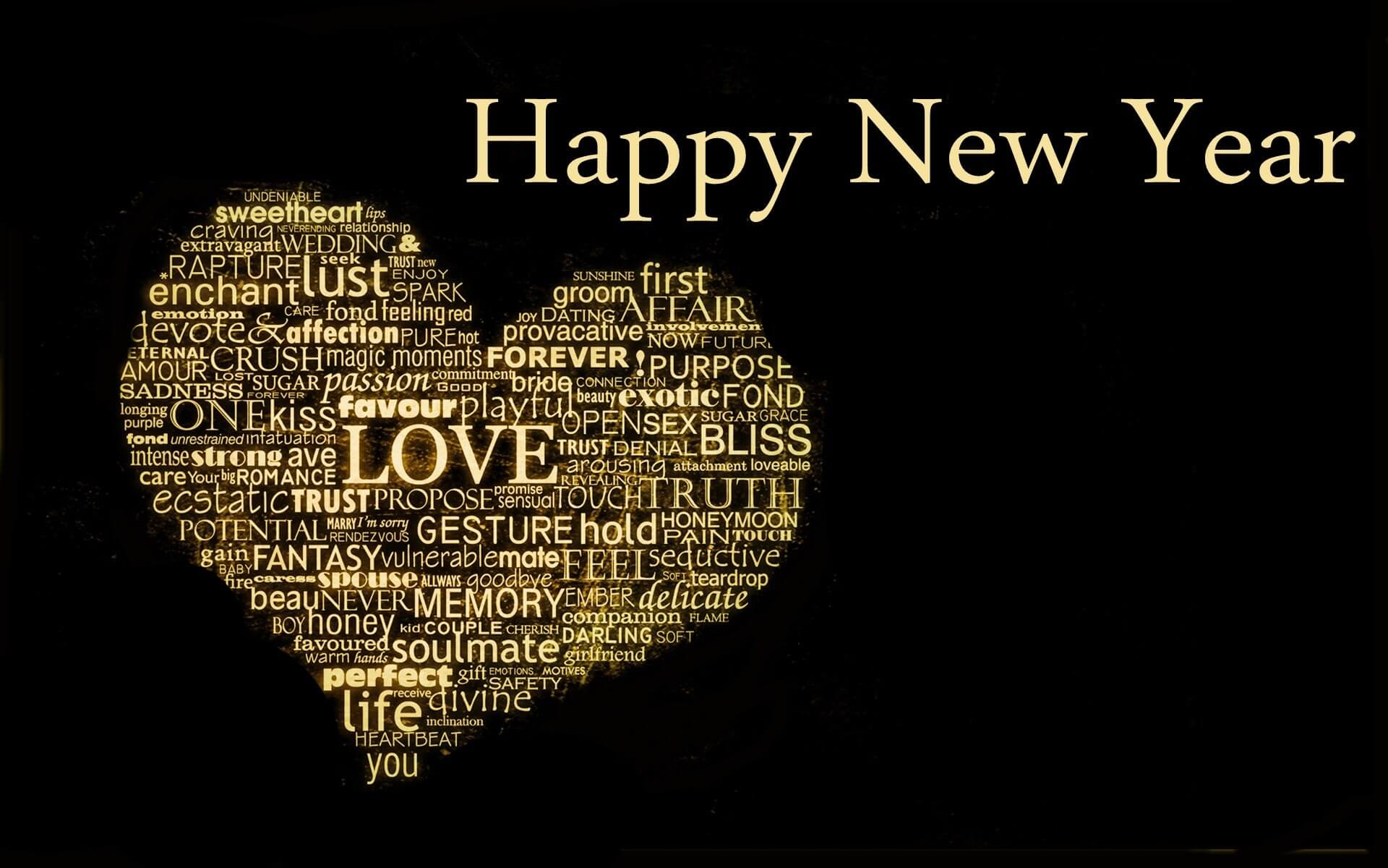 Happy New Year Wishes Heart Love - Quote Happy New Year 2019 - HD Wallpaper