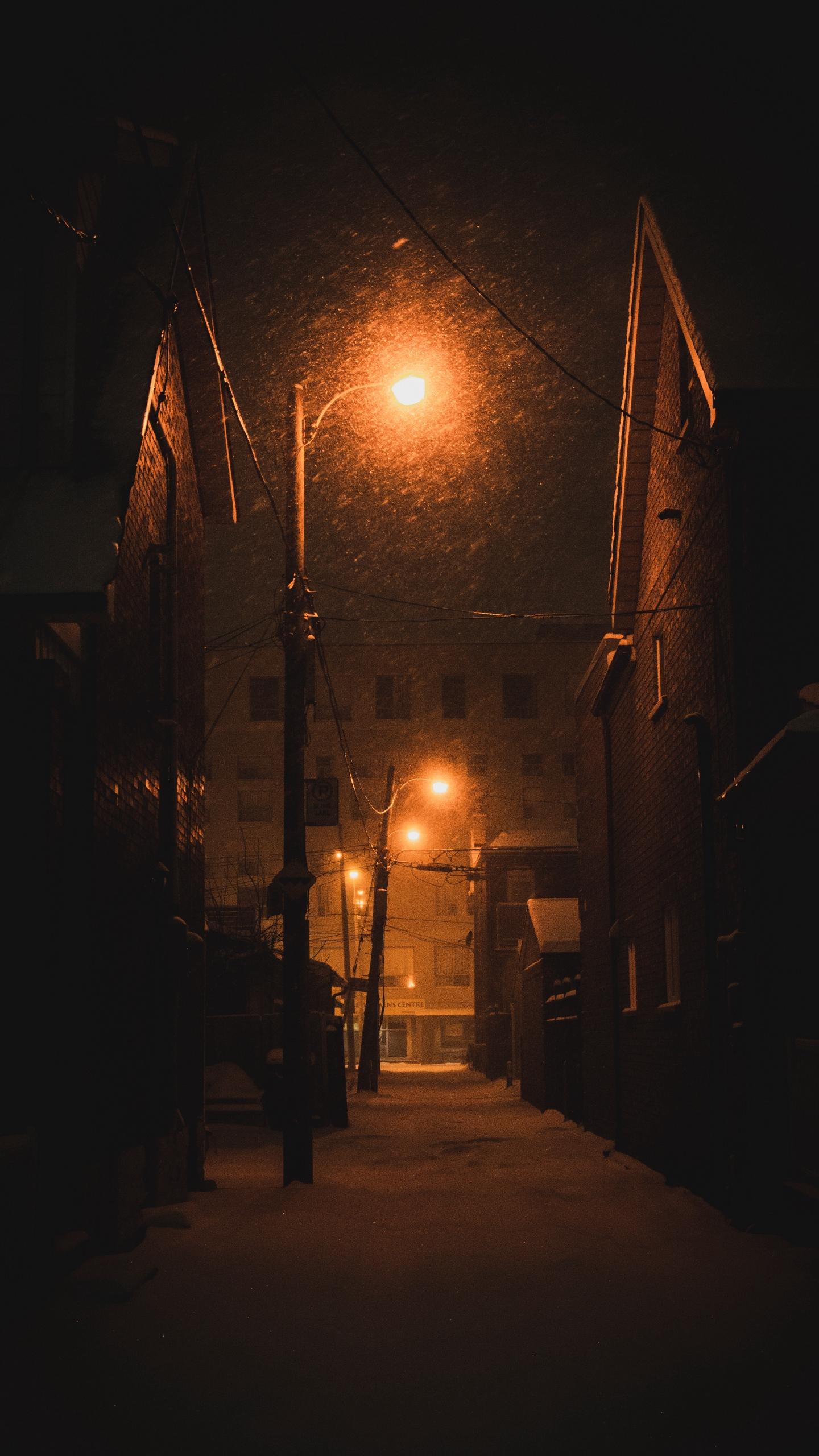 Wallpaper Street Lights Night City Winter Dark Dark Street Light Background 1440x2560 Wallpaper Teahub Io