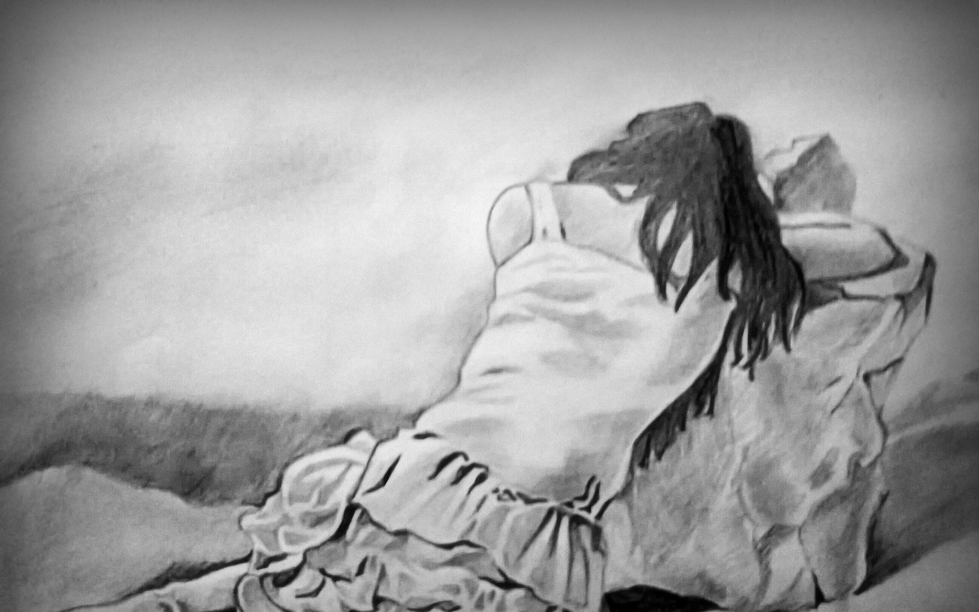 Nice Beautiful Wallpaper Of Sad Boy With Girl By Pencil - Boy And Girl Art - HD Wallpaper