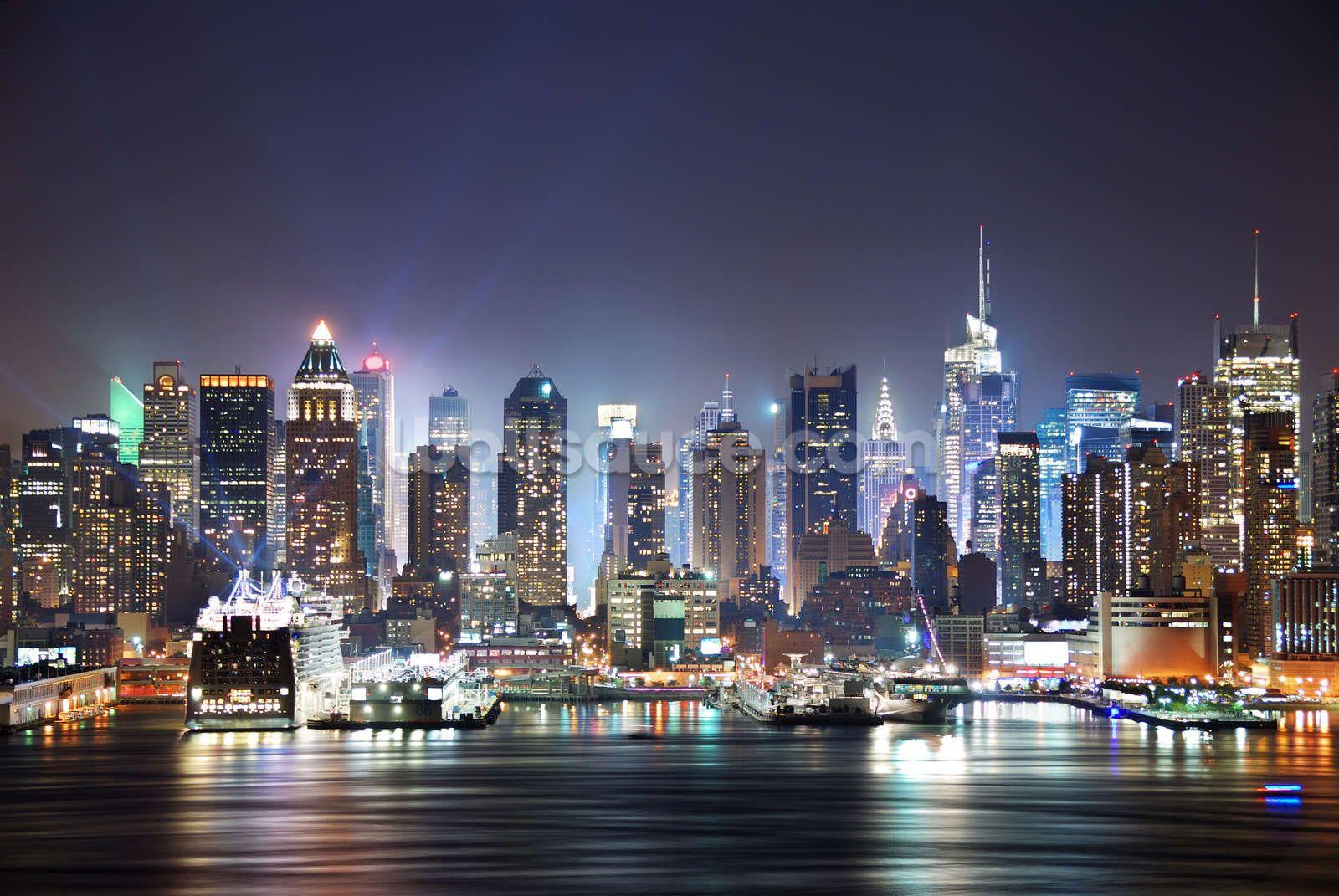 New York Manhattan Skyline At Night - HD Wallpaper
