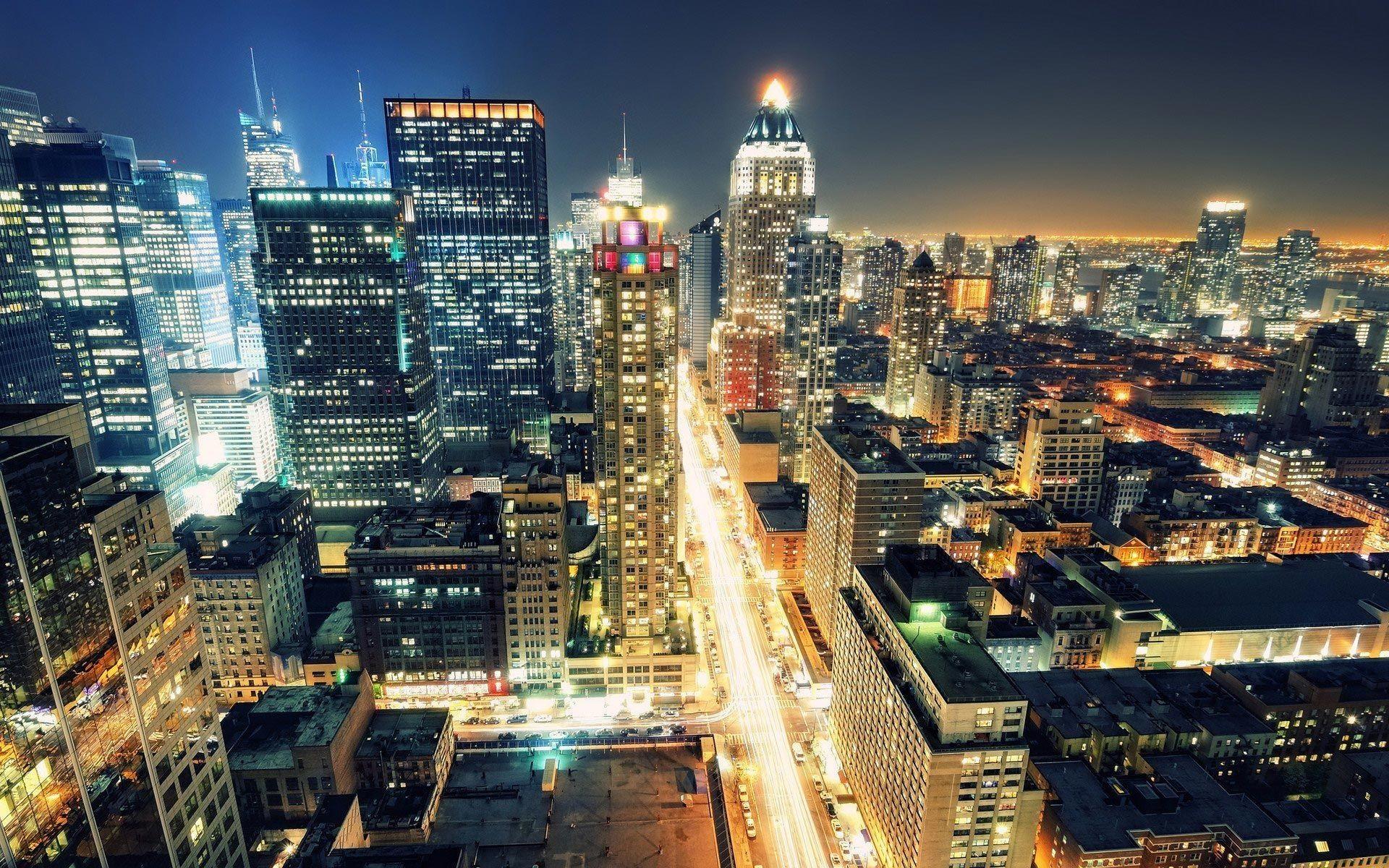 1920x1200, New York City Skyline At Night Wallpaper - New York City Night Scene - HD Wallpaper