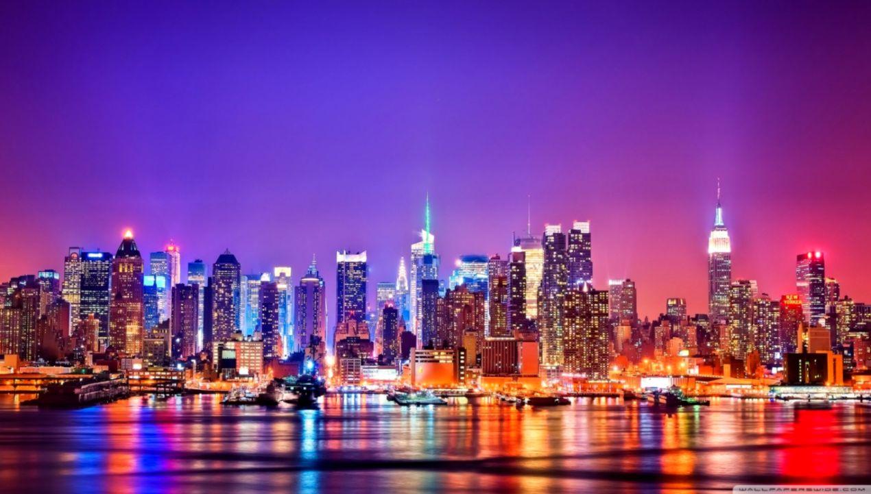 New York City Skyline At Night ❤ 4k Hd Desktop Wallpaper - Night New York City - HD Wallpaper