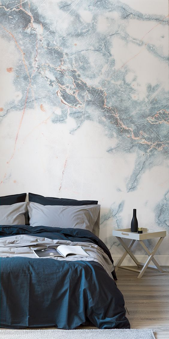 Marble Accent Wall Bedroom - HD Wallpaper