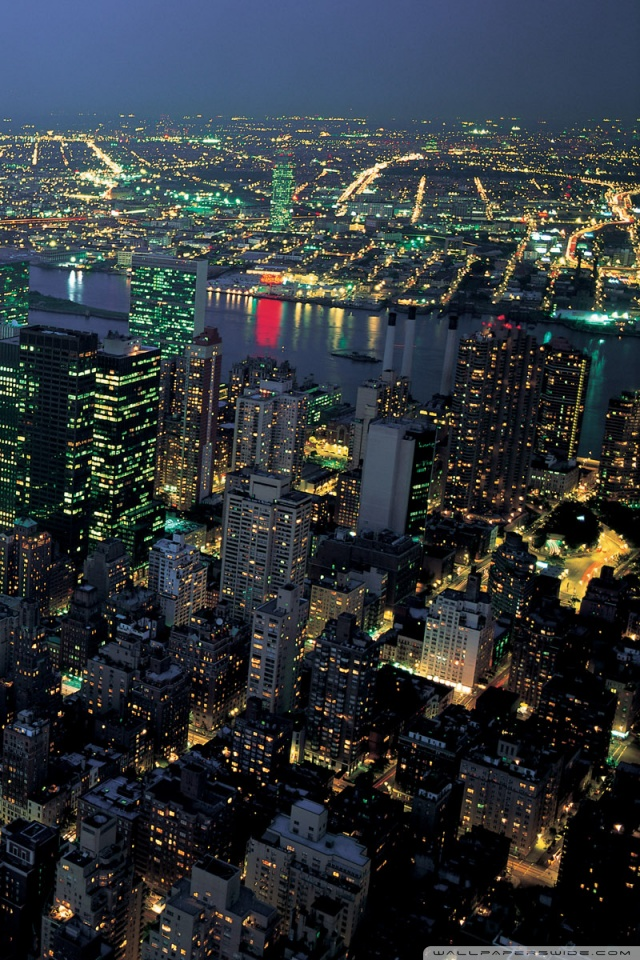 New York Night Lights 640x960 Wallpaper Teahub Io