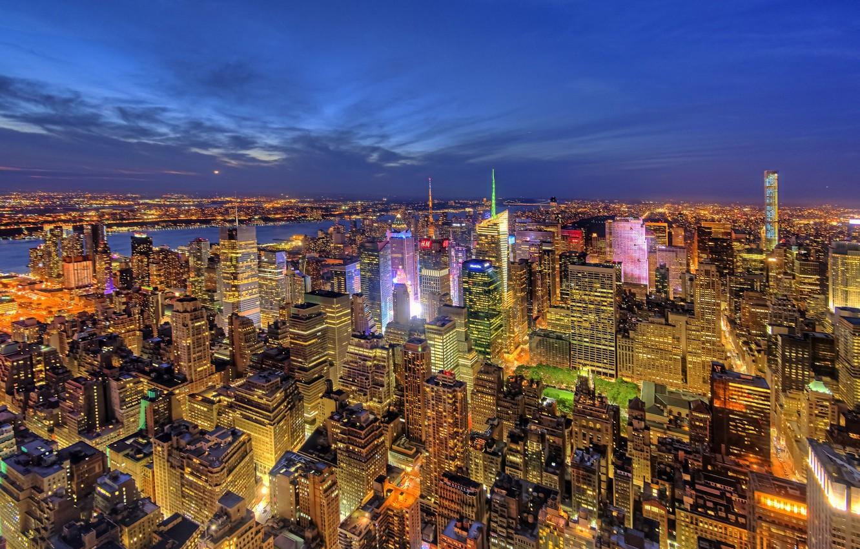 Photo Wallpaper Building, New York, Panorama, Night - HD Wallpaper