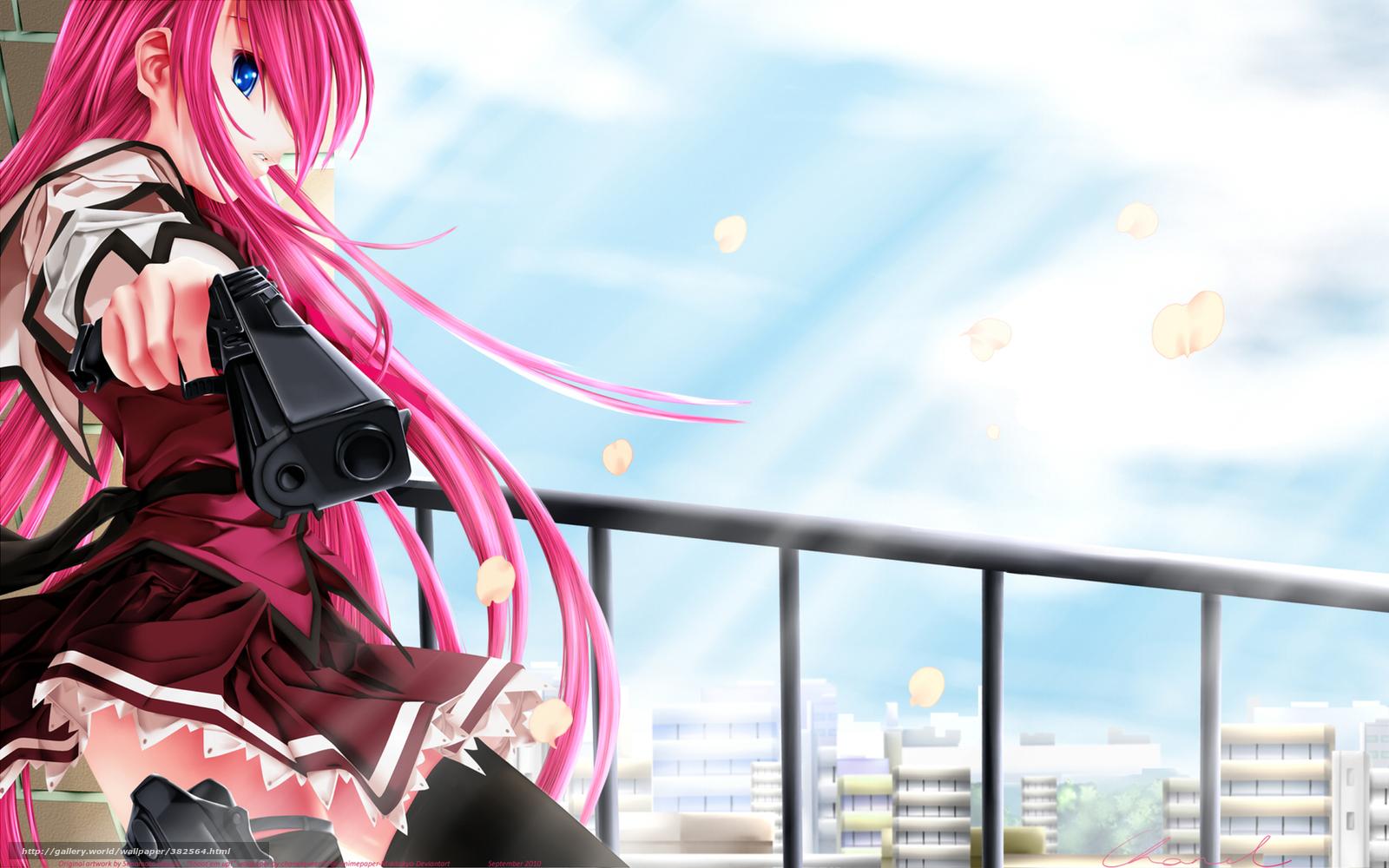 Download Wallpaper Girl, View, Pink Hair, School Uniform - Anime Girl With Guns - HD Wallpaper