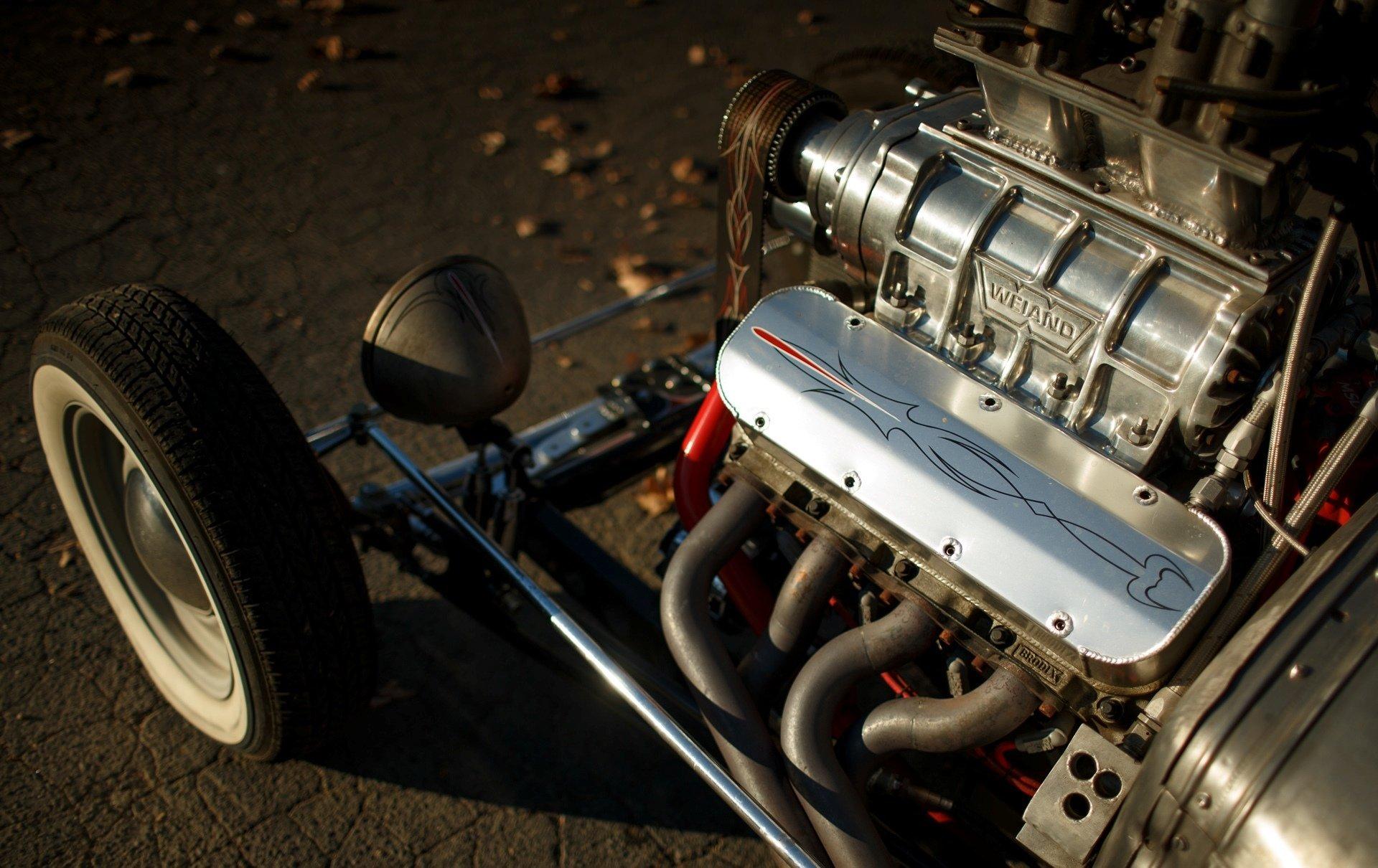 Supercharged Hot Rod V8 - HD Wallpaper