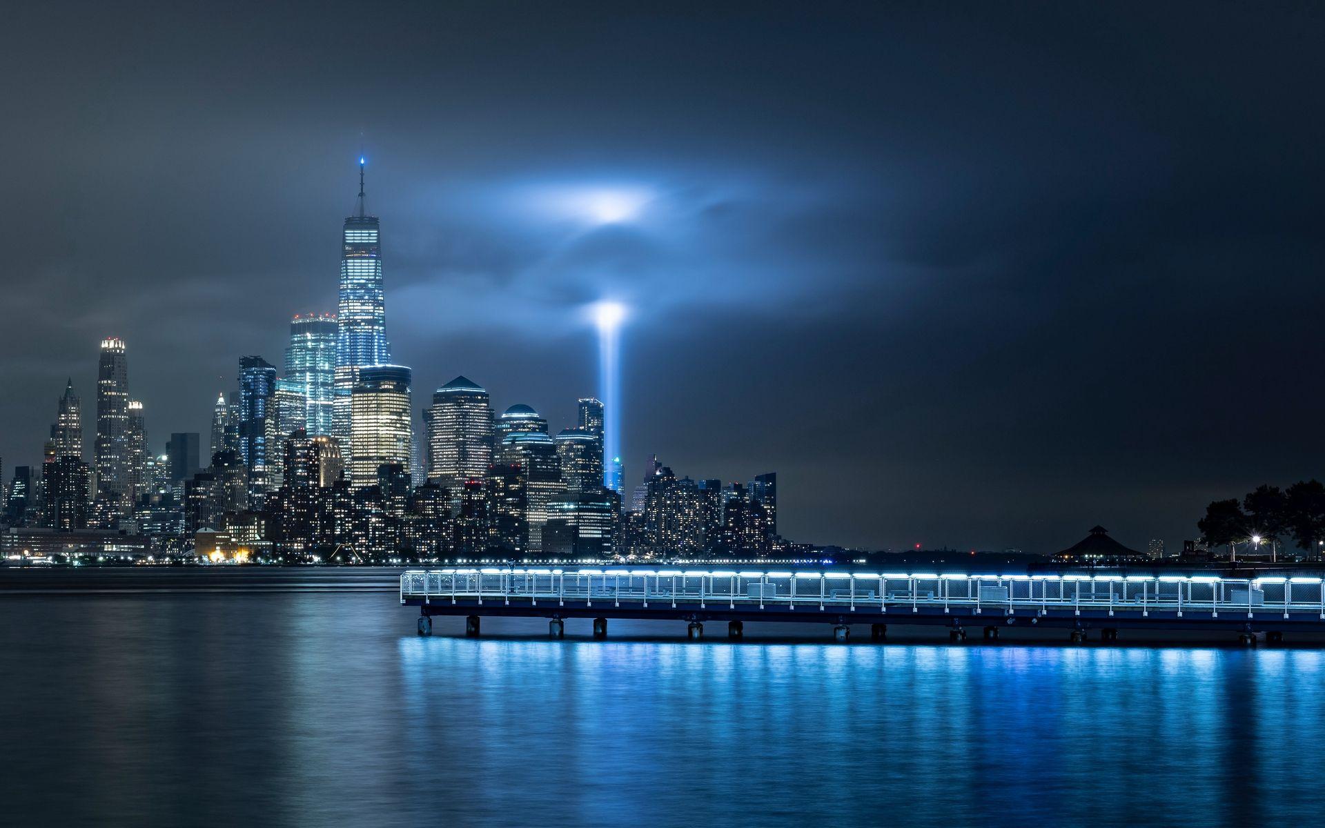 Night New York City One World Trade Center - HD Wallpaper