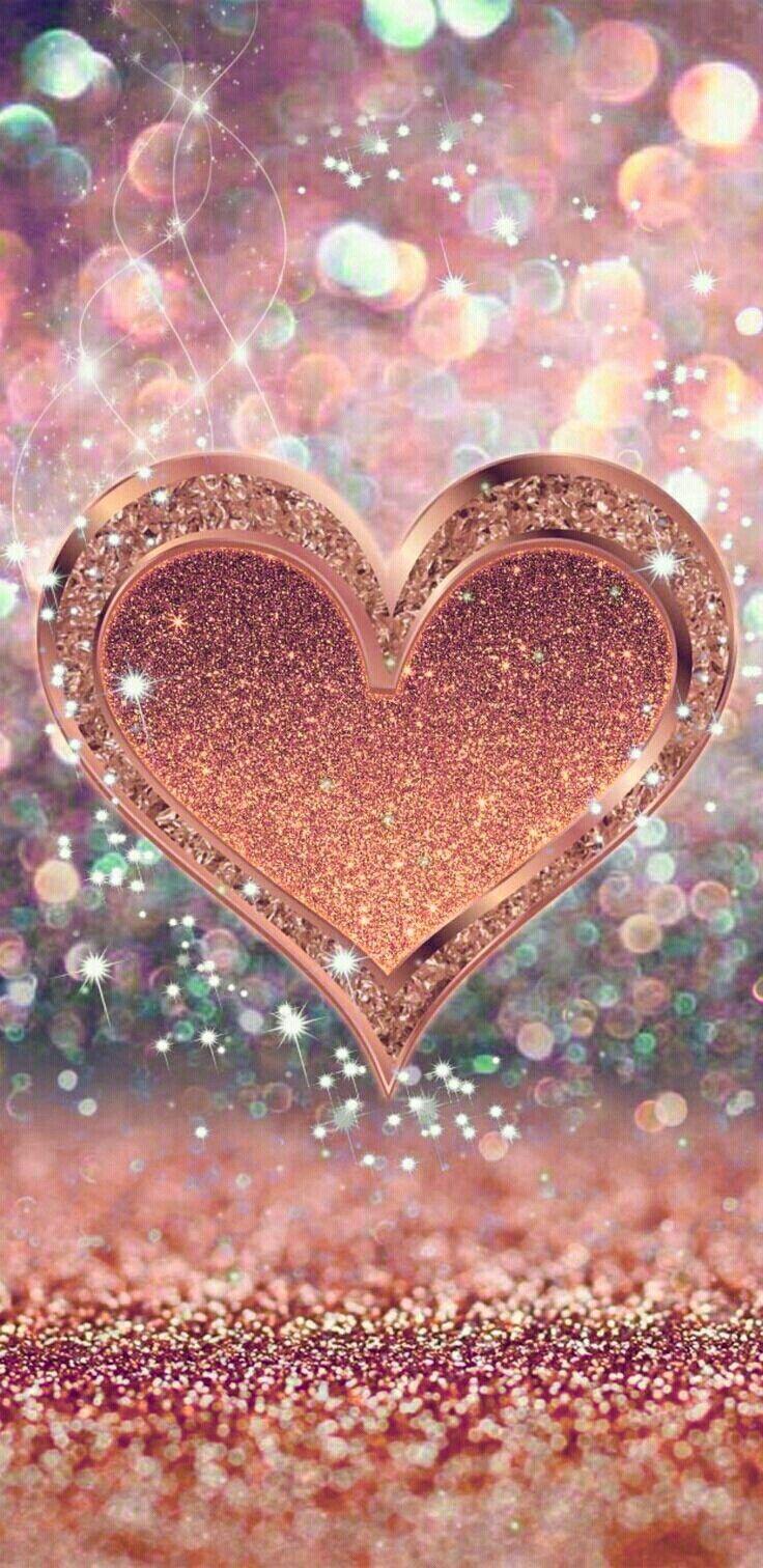 Glitter Heart Wallpaper Iphone - HD Wallpaper