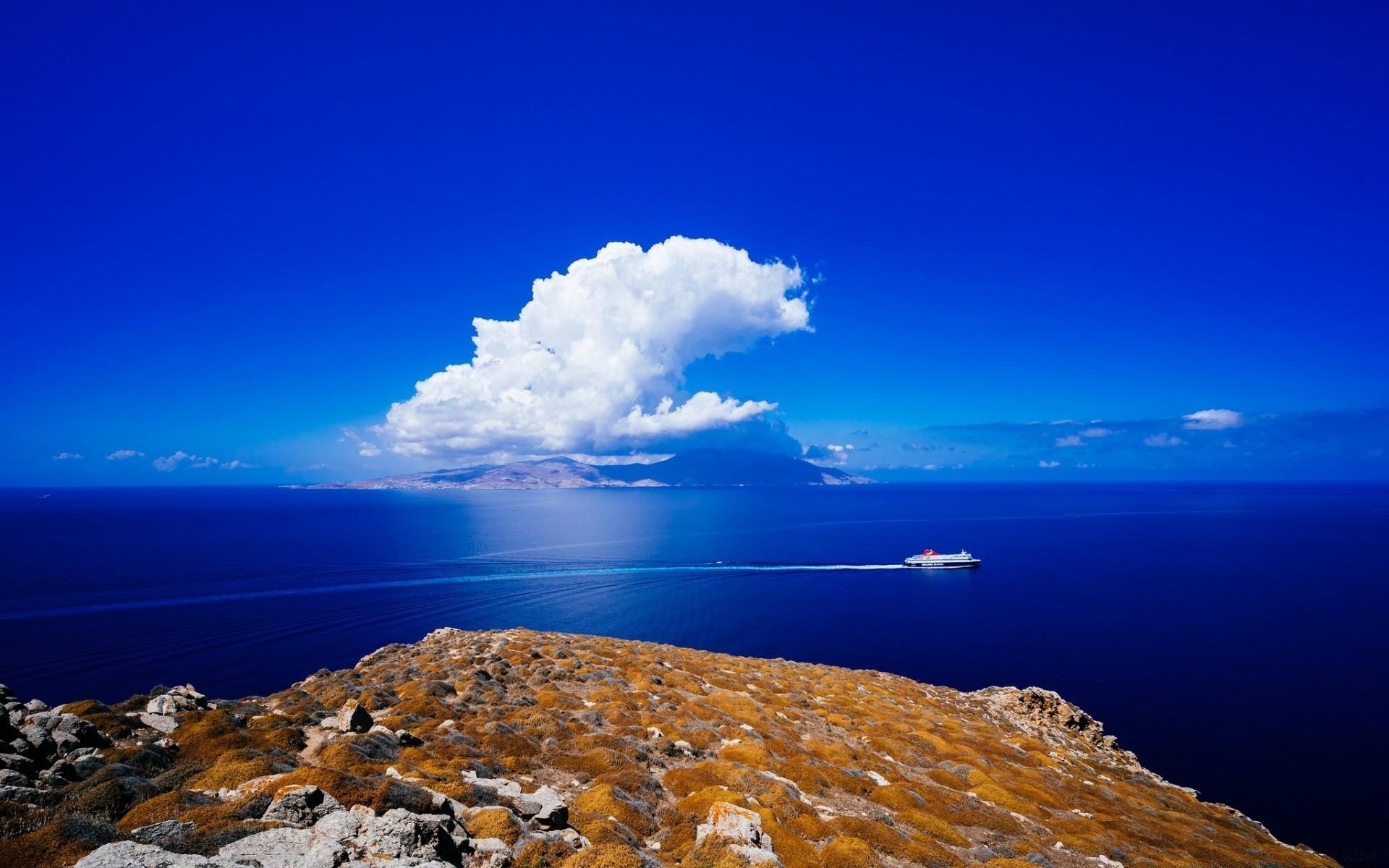 Europe Water Sea Travel Ocean Sky Seashore Landscape - Aegean Sea Wallpaper Hd - HD Wallpaper