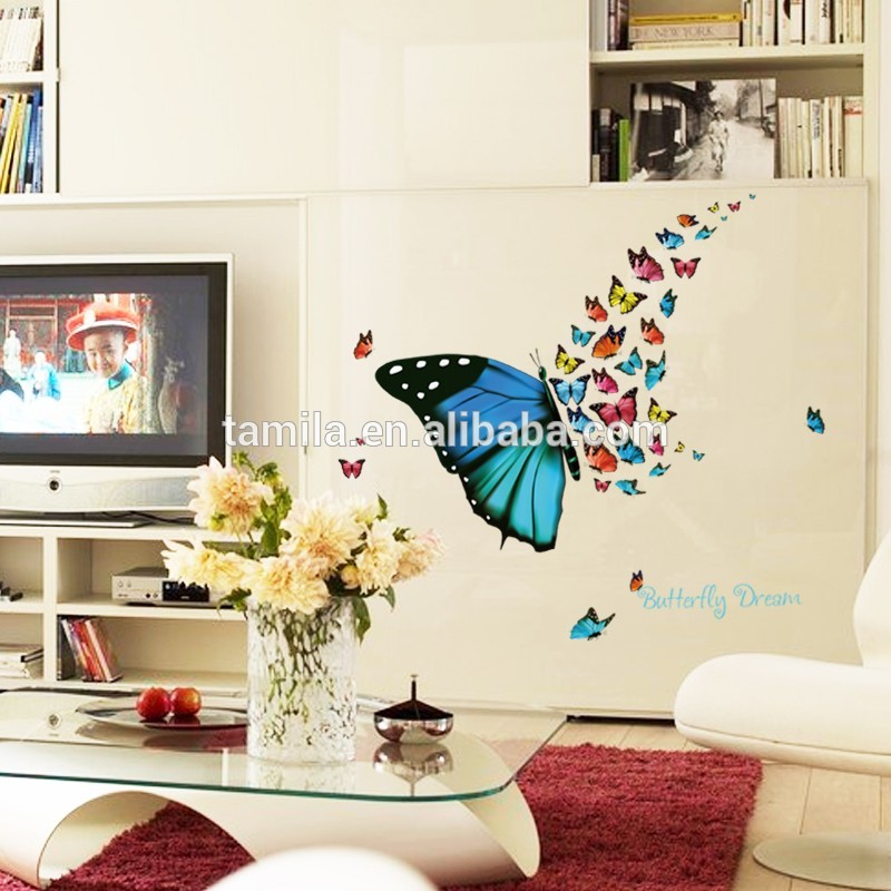 Butterfly&flower Decorative Wallpapers On The Walls - Butterflies On Living Room - HD Wallpaper