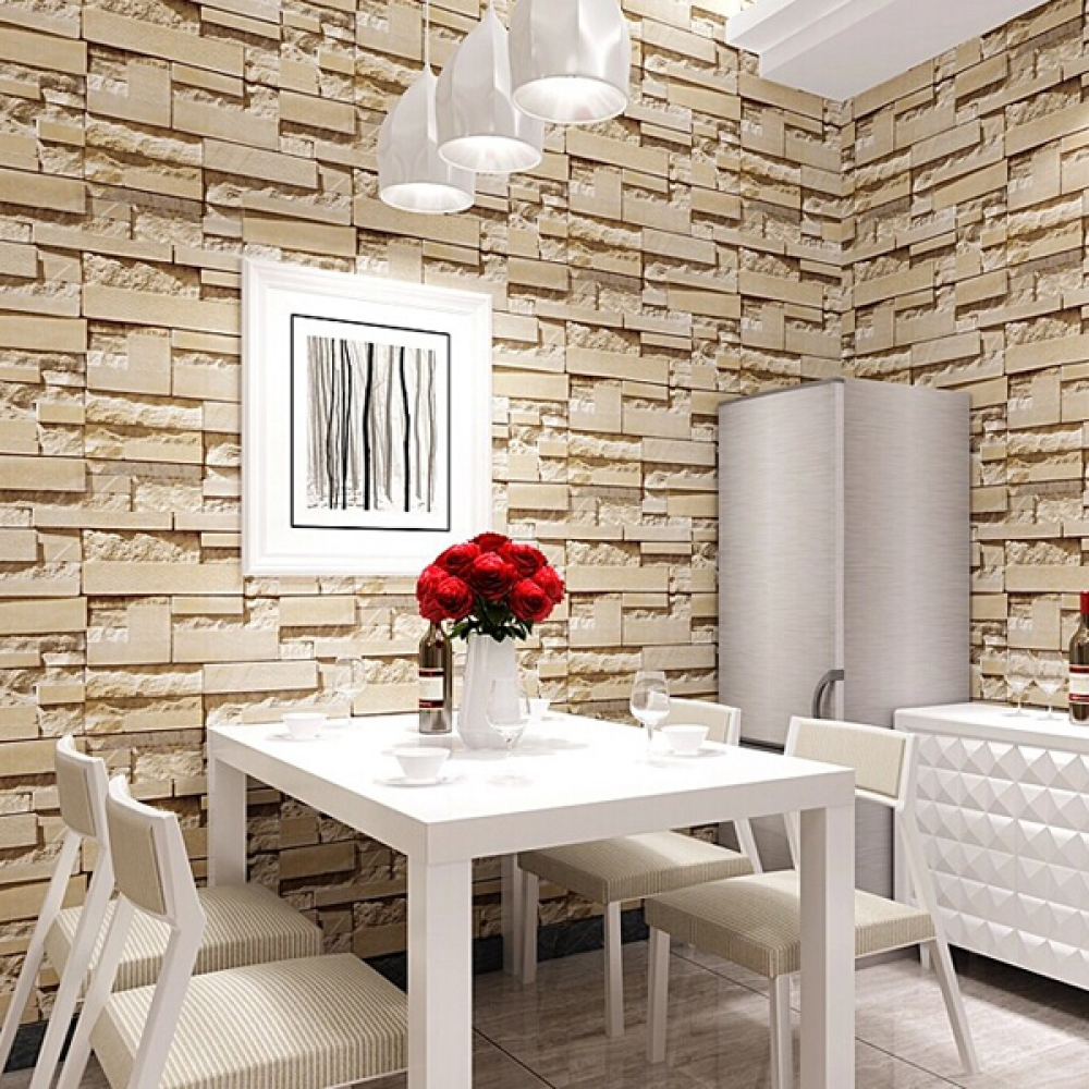 Luxury Stone Brick Wall 10 Meters Non-woven Wallpaper - Brick Wall Design For Dining Room - HD Wallpaper