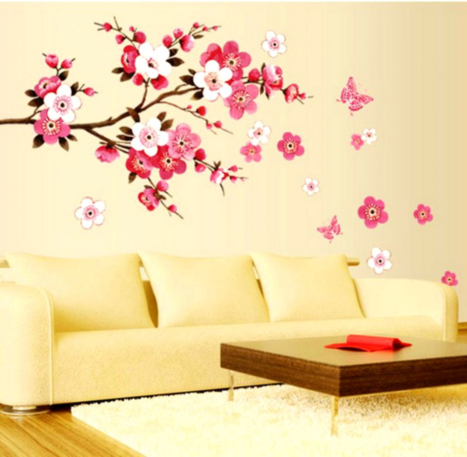 Marvelous Design Wallpaper Sticker 3d Brick Waterproof - Flower Wall Decorations With Butterfly - HD Wallpaper
