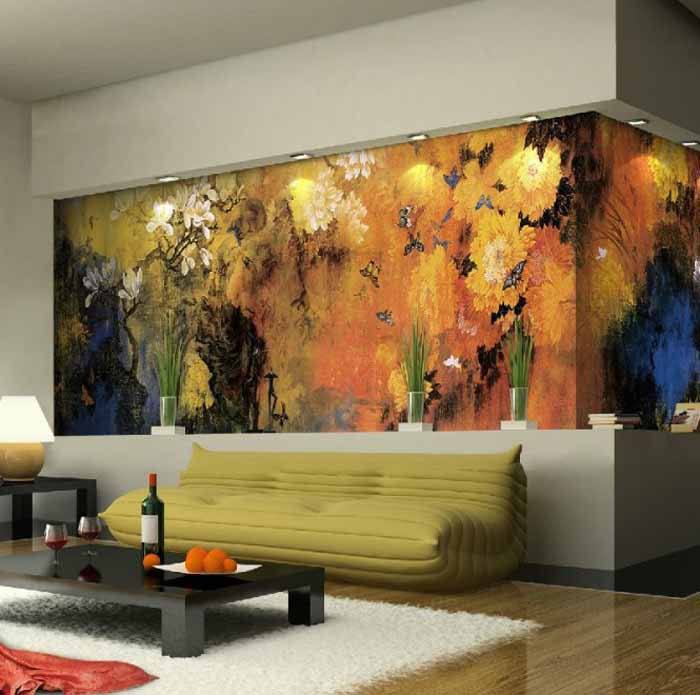 Living Room With Nature Inspired Wall Mural - Modern Living Room Mural - HD Wallpaper