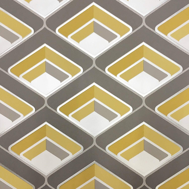 Wallpaper In Yellow Grey And Mustard Geometric Wallpaper - Yellow And Grey 70s - HD Wallpaper