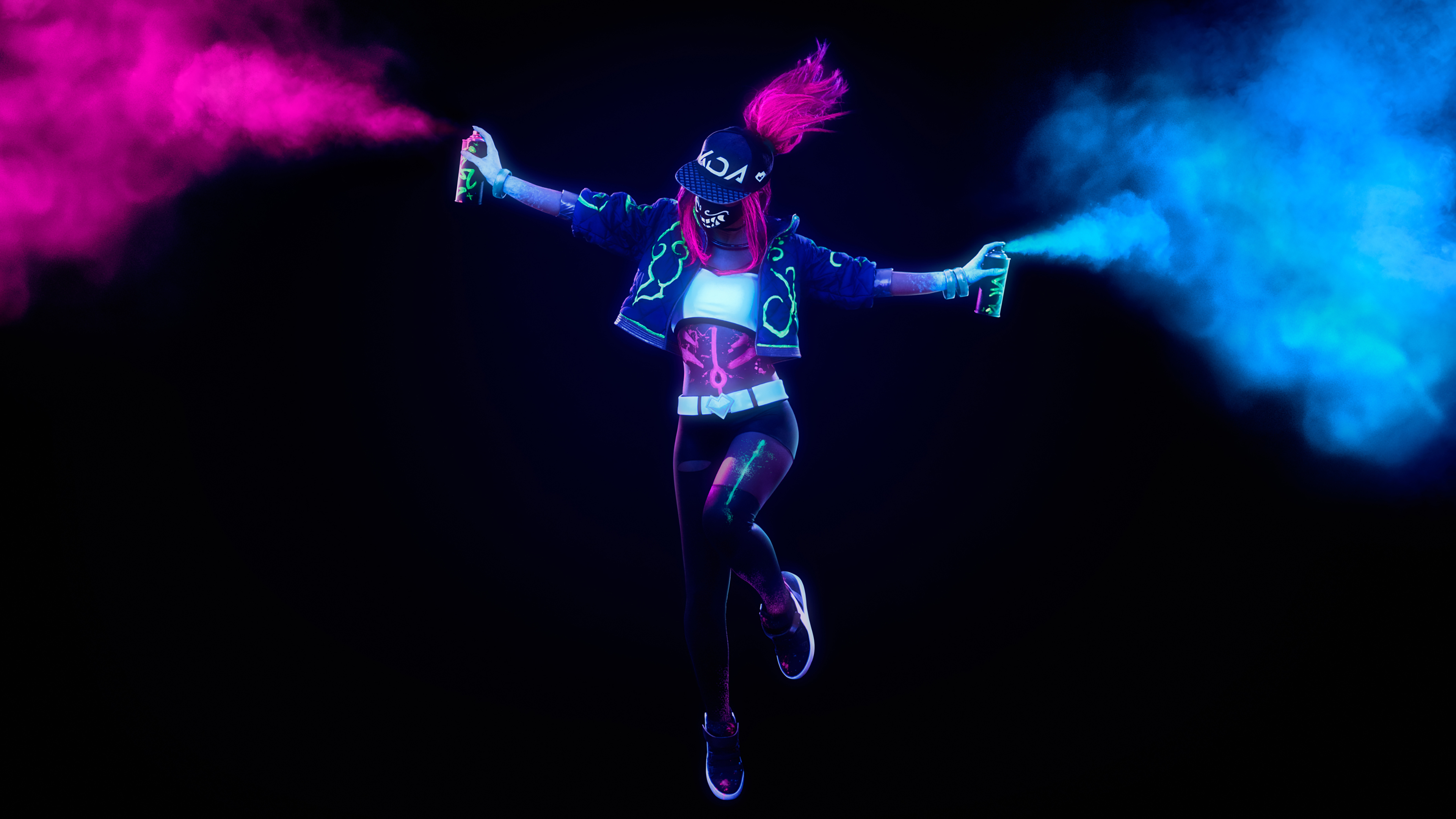Kda Akali League Of Legends Neon Cosplay 4k Kda Akali Wallpaper 4k 3840x2160 Wallpaper Teahub Io