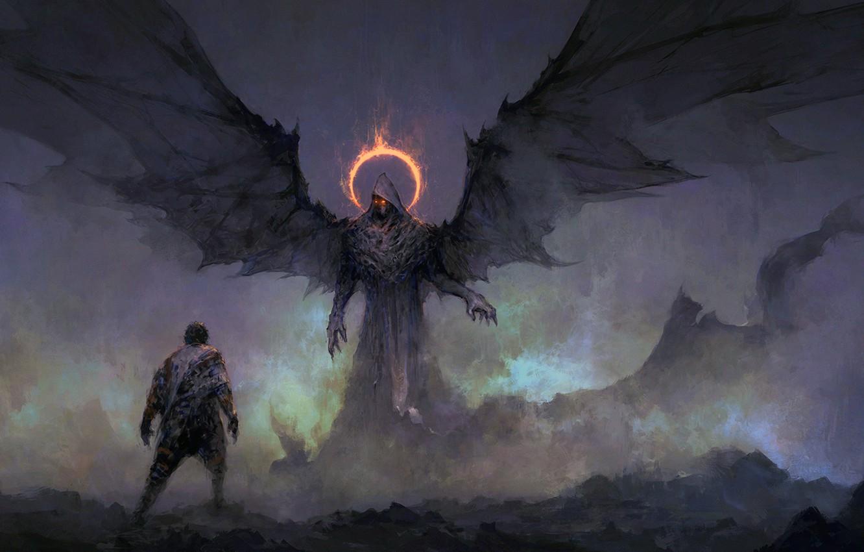 Photo Wallpaper Dark, Fantasy, Wings, Red Eyes, Man, - Dark Angel Fantasy Art - HD Wallpaper