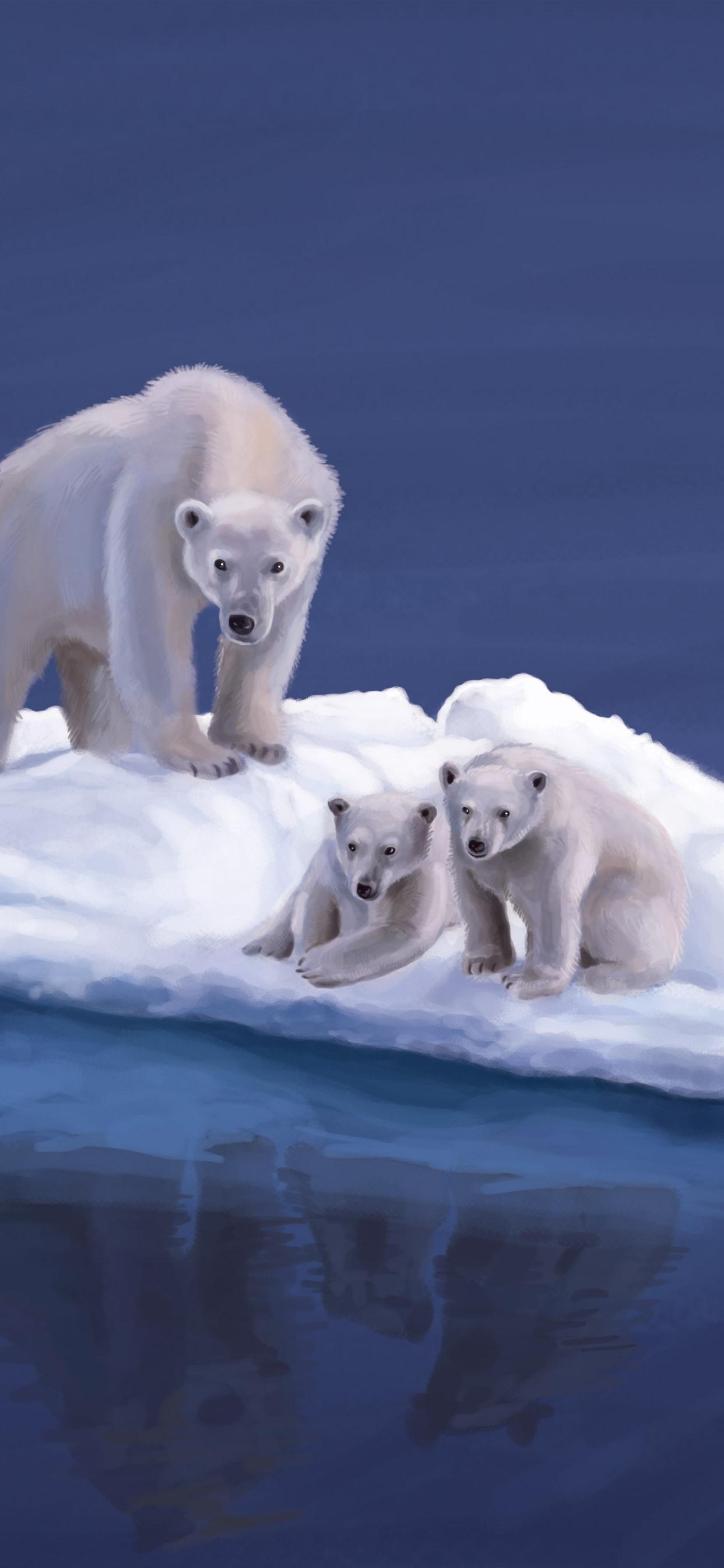 Iphone Wallpaper Polar Bears, Snow Island, Art Picture - 4k Ultra Hd Polar Bear - HD Wallpaper
