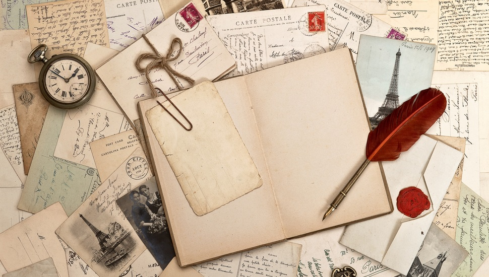 Vintage, Vintage, Letters, Book, Watch, Pen, Retro - Pen And Book Vintage - HD Wallpaper