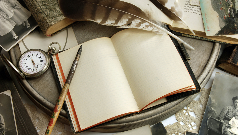Cards, Vintage, Notepad, Paper, Vintage, Books, Retro - Laptop Book And Pen - HD Wallpaper
