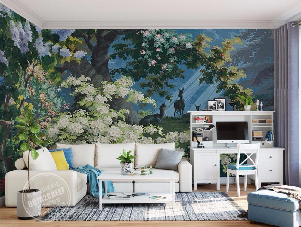 Vintage Wallpaper Landscape Room - HD Wallpaper
