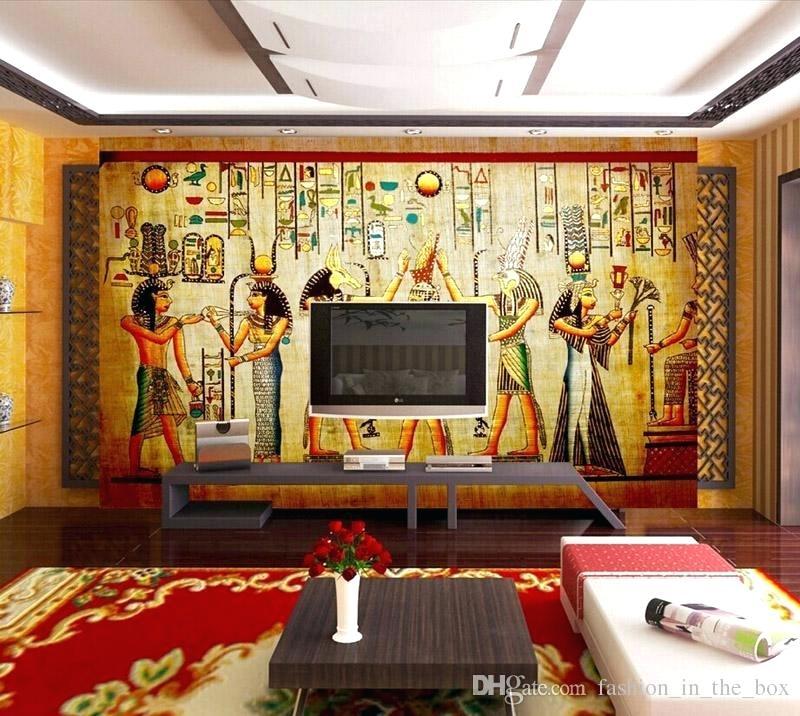 Wallpaper Office Vintage Photo Wallpaper Wall Murals - Egyption Design On Wall - HD Wallpaper