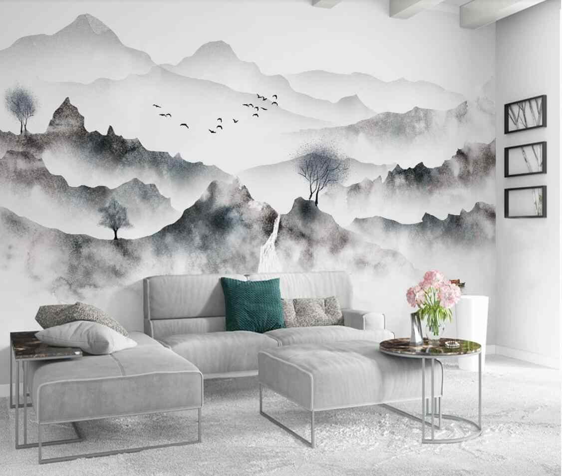 Modern Creative Water Ink Mountain Mural Wallpaper - Geometric Triangles Wall Ideas - HD Wallpaper