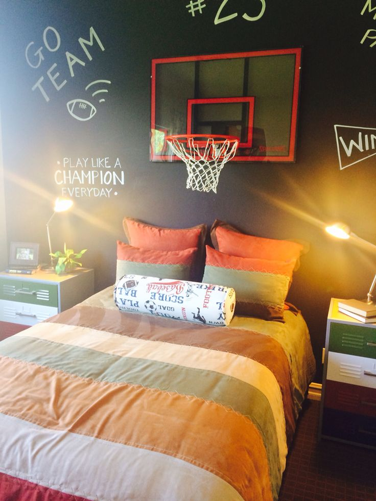 Popular Basketball Bedroom Decor 11 All About Home - Boys Room Basketball Decor - HD Wallpaper