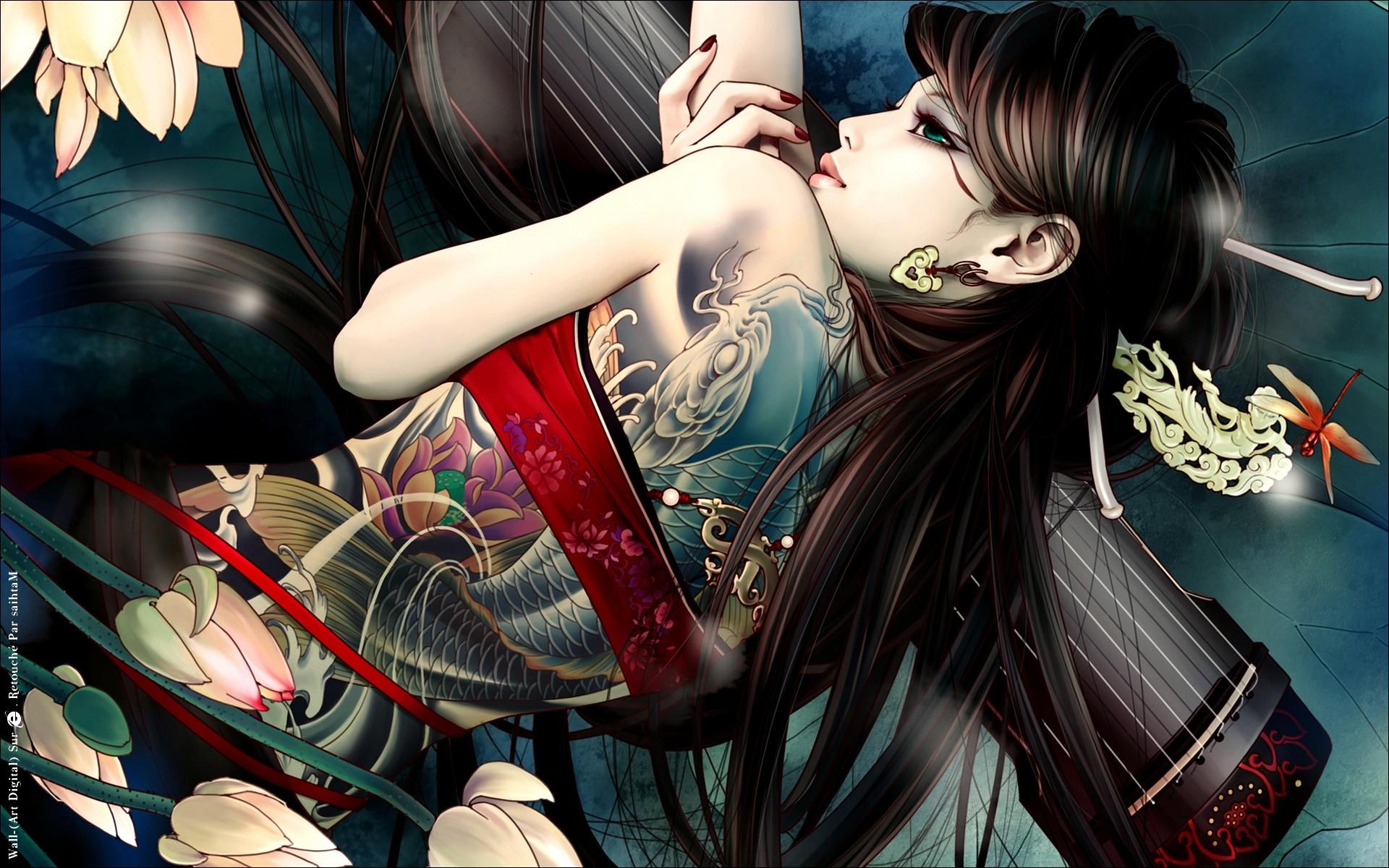 Beautiful Cool Girl Back Tattoo Anime Hd Wallpaper - Yakuza Girl Anime - HD Wallpaper