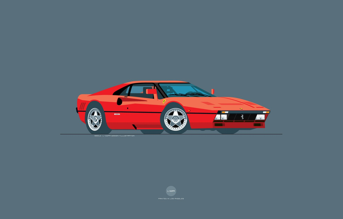 Photo Wallpaper Red Auto Machine Ferrari Art Supercar Vintage Ferrari Illustration 1332x850 Wallpaper Teahub Io