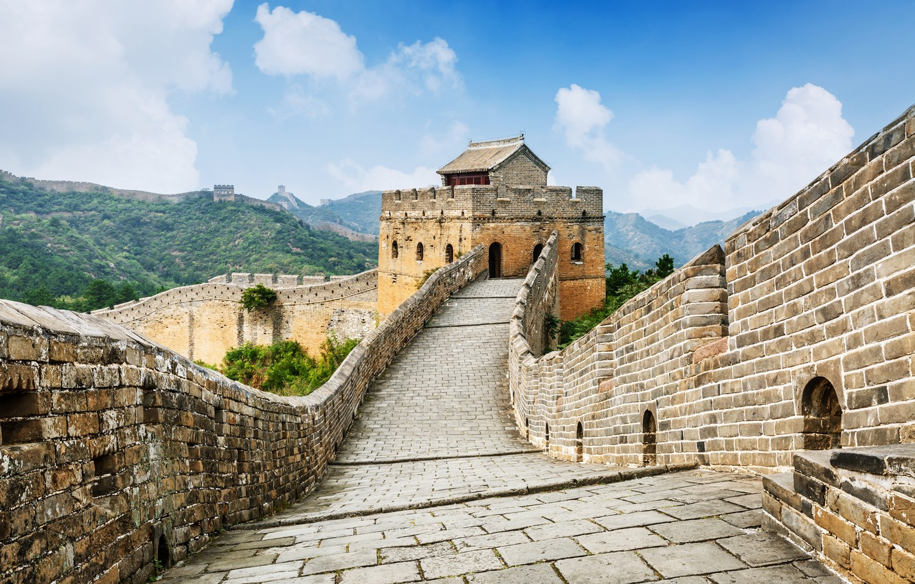 Photo Wallpaper The Sky, Clouds, Mountains, Nature, - Great Wall Of China - HD Wallpaper