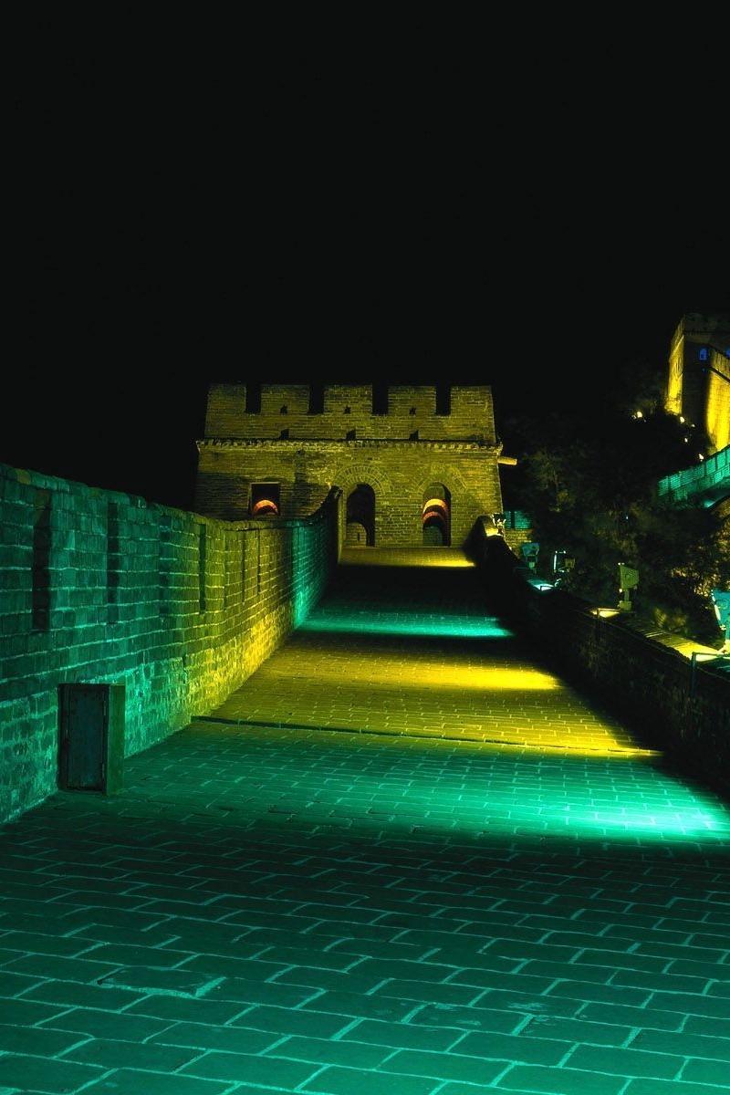 Wallpaper Great Wall Of China, Landmark, Night, Building, - Great Wall Of China At Night - HD Wallpaper