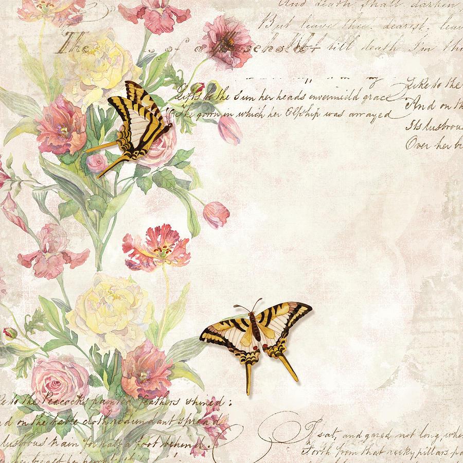 Butterfly Vintage Wallpaper Flower - HD Wallpaper