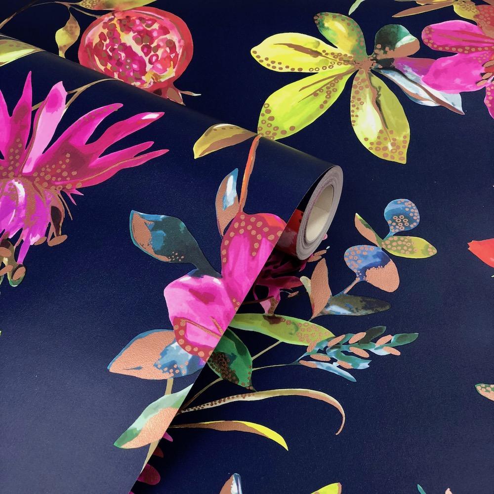 Holden Decor Melgrano Navy Wallpaper Navy Blue Floral Wallpaper For Walls 1000x1000 Wallpaper Teahub Io