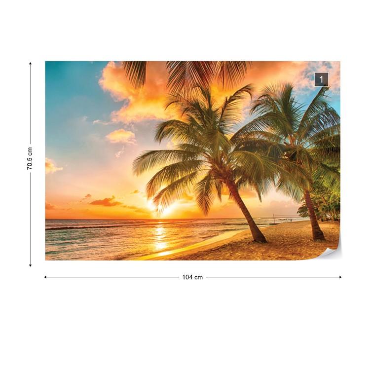 Tropical Beach Sunset Palm Trees Wallpaper Mural - Sunset Palm Tree Beach - HD Wallpaper