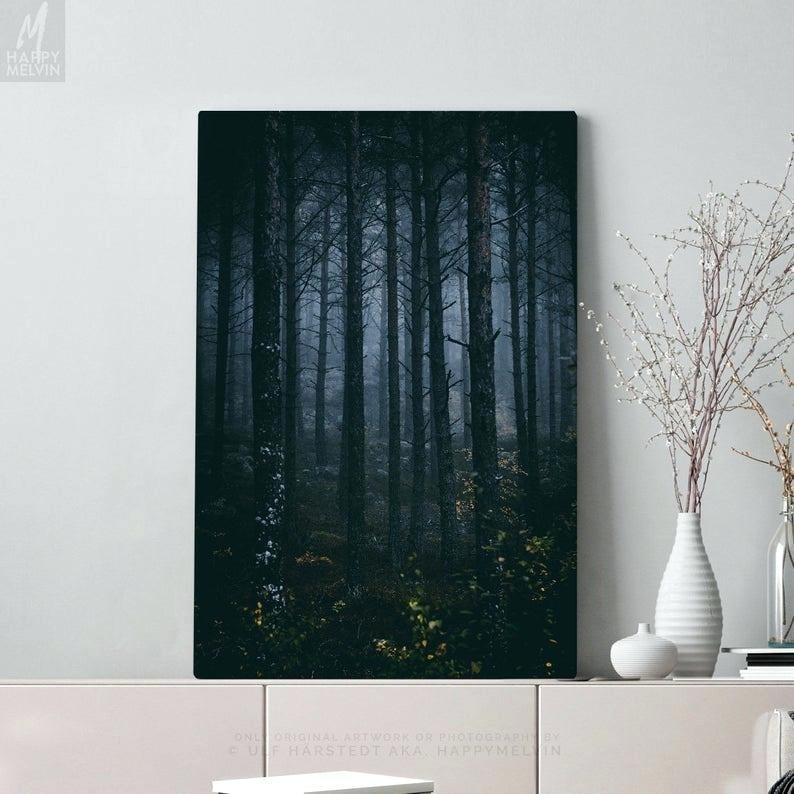 Dark Forest Canvas Art Large Woods Wall Art And Nature - Abstract Mountain Canvas Art - HD Wallpaper