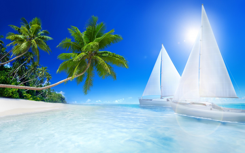 Tropical Beach Screensavers And Wallpaper - Beach High Resolution Desktop Backgrounds - HD Wallpaper