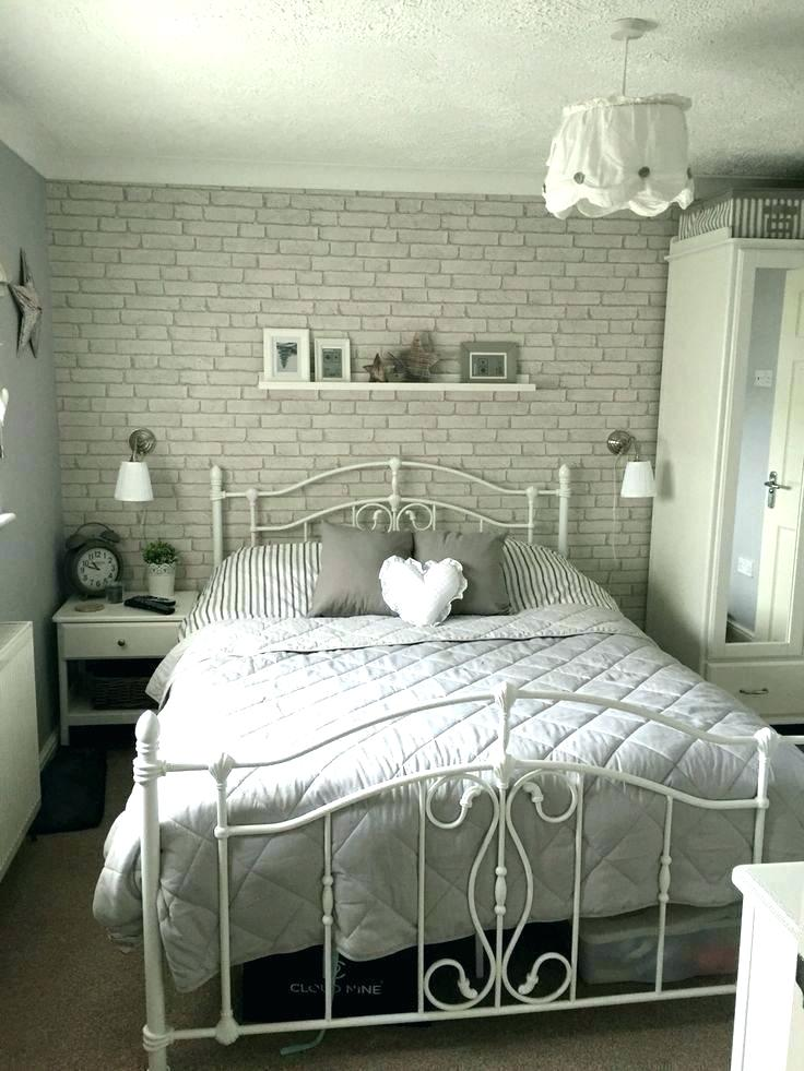 Wallpaper For Bedrooms Gold And Blue Tree Wallpaper - Grey Brick Wall Bedroom - HD Wallpaper