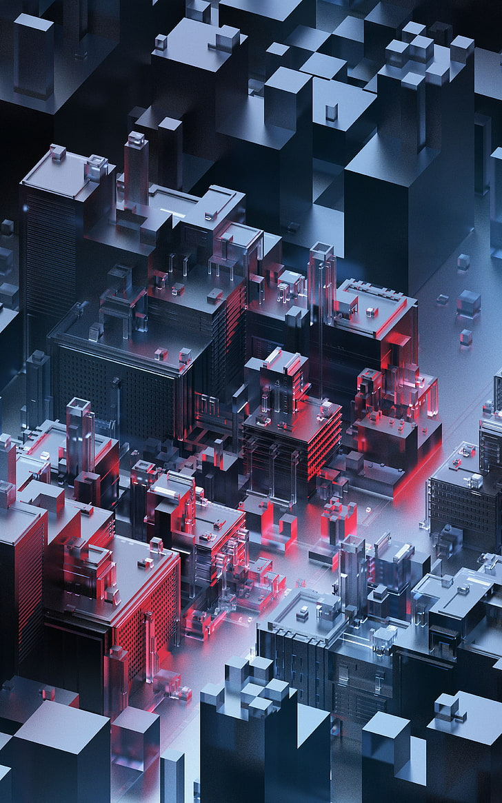 Buildings, Architecture, 4k, Glass, Dark, Neon, 3d, - Abstract Architecture 4k - HD Wallpaper