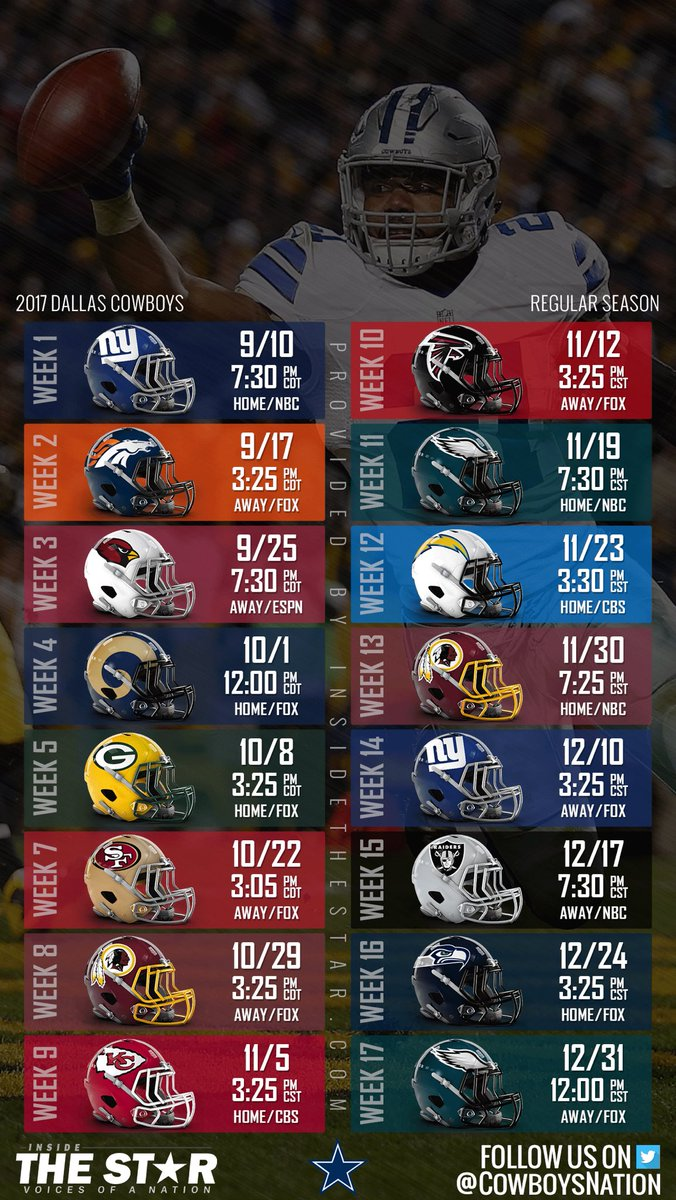Dallas Cowboys Schedule Wallpaper 2017 - HD Wallpaper
