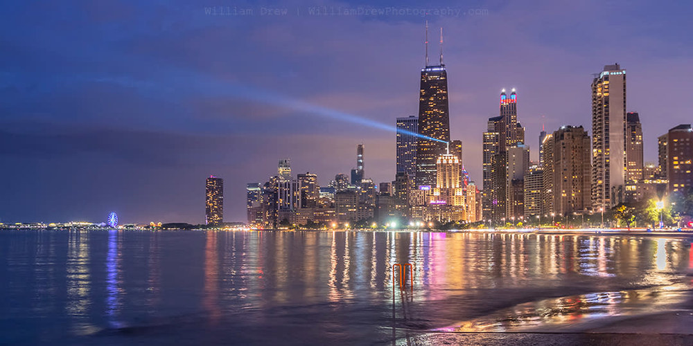 Chicago City Skyline At Night 1000x500 Wallpaper Teahub Io