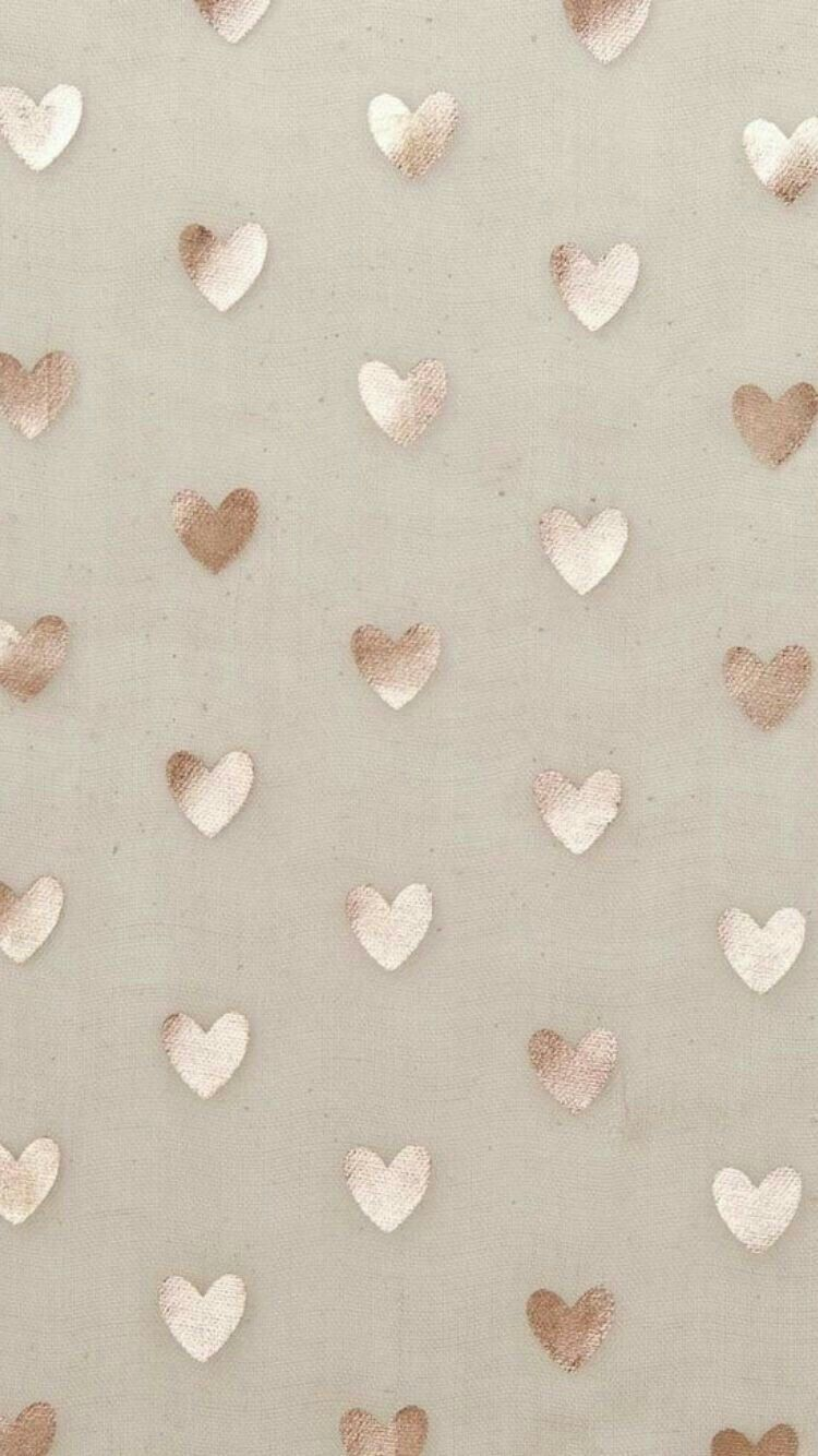 Beige Gold Simple Heart Phone Wallpaper - Rose Gold Iphone Backgrounds - HD Wallpaper