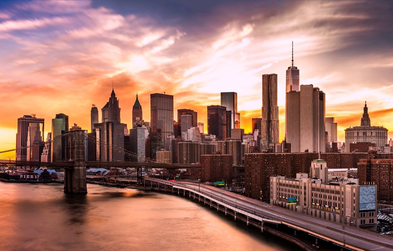 Photo Wallpaper Lights, Usa, River, Sky, Bridge, Sunset, - New York City Wallpaer Up - HD Wallpaper
