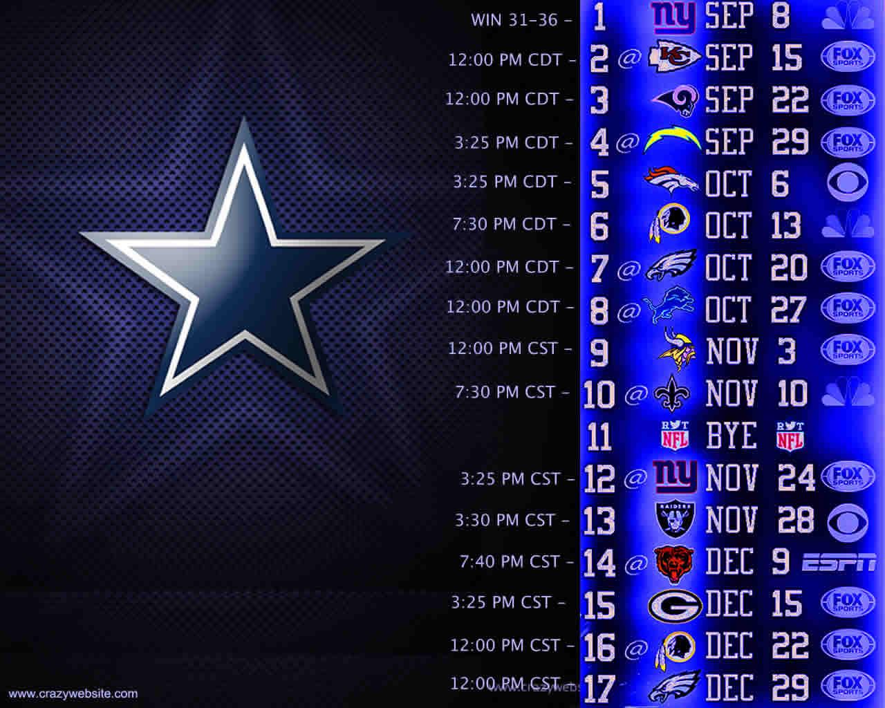 Dallas Cowboys Monday Night Schedule - HD Wallpaper