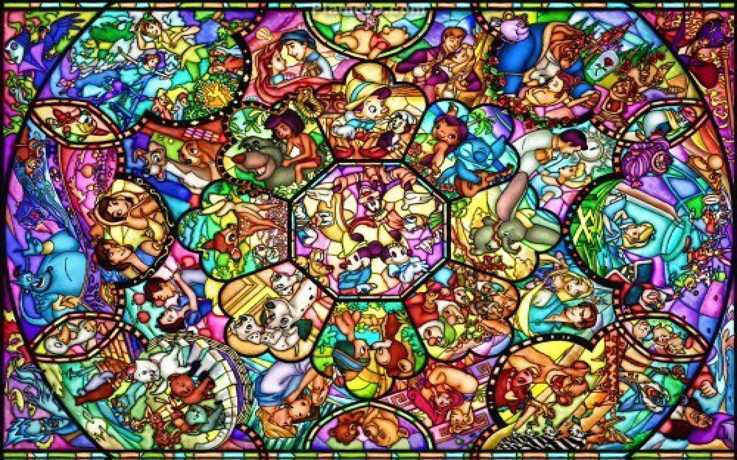 Disney Desktop Backgrounds Disney Stained Glass Diamond Painting 2560x1600 Wallpaper Teahub Io