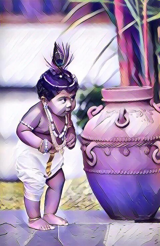 Animated Baby Lord Krishna 626x960 Wallpaper Teahub Io