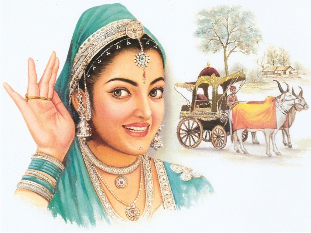Indian Wallpapers, Widescreen Wallpapers - Beautiful Village Girl Paintings - HD Wallpaper