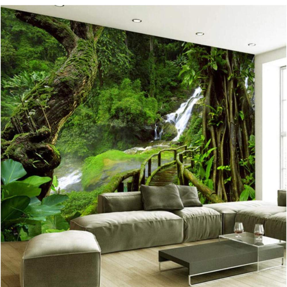 3d Forest Green Tree Art Wall Paper Wall Print Decal - Nature Wall Painting For Living Room - HD Wallpaper